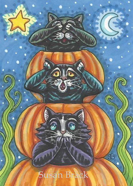 Art: BLACK CATS PURR NO EVIL by Artist Susan Brack