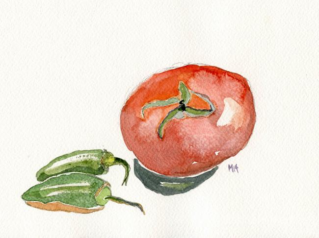 Art: Tomato and Jalapenos by Artist Gabriele M.