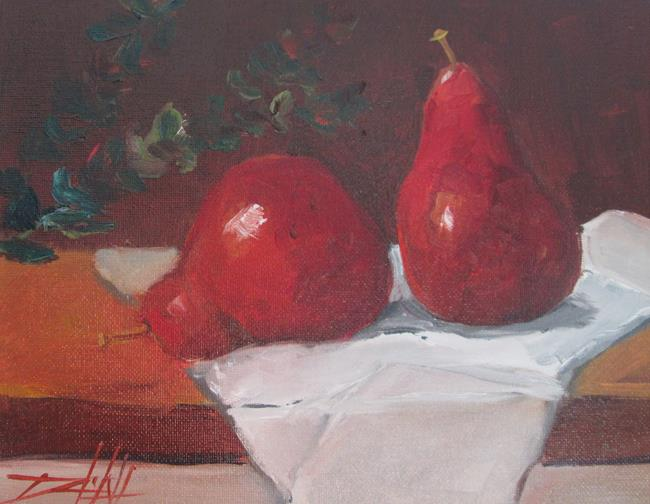 Art: Red Pear Still Life by Artist Delilah Smith