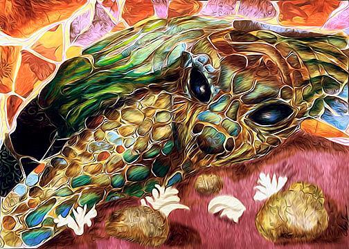 Art: turtle mosaic:digital version by Artist Alma Lee