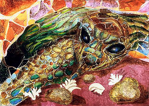 Art: turtle mosaic by Artist Alma Lee