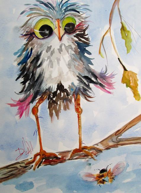 Art: Owl and Bee by Artist Delilah Smith