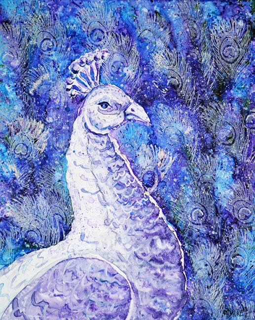 Art: Painted Peacock by Artist Melinda Dalke