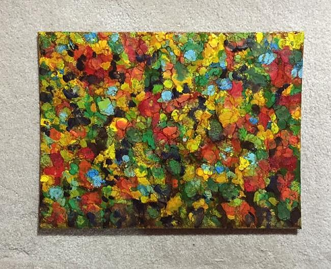 Art: Encaustic Abstract Flower Field - sold by Artist Ulrike 'Ricky' Martin