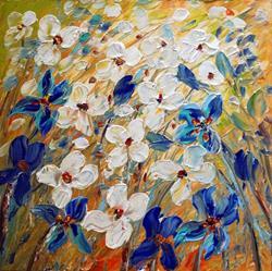 Art: Iris Daisy Flowers by Artist LUIZA VIZOLI