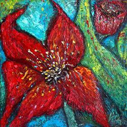 Art: RED ORCHID by Artist LUIZA VIZOLI