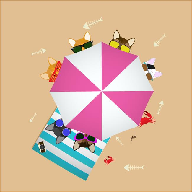 Art: UmbrellaCats1000 by Artist Diana DeAvila