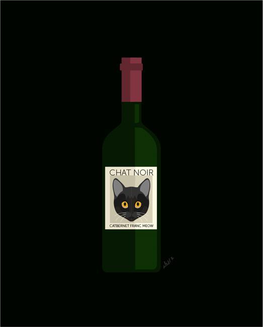 Art: CatbernetFrancChatNoirWine green1000 by Artist Diana DeAvila