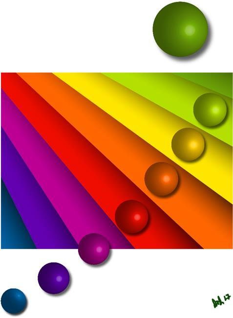 Art: rainbowblindsballs whitebg1000 by Artist Diana DeAvila