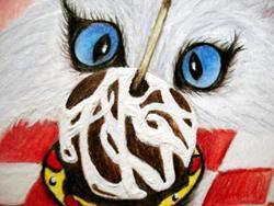 Art: Cat Eyeballing Candied Apple by Artist Pamela Godwin Manning