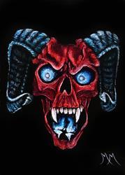 Art: Demon Skull  (SOLD) by Artist Monique Morin Matson