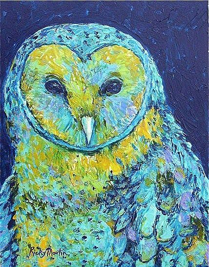 Art: Blue Owl - sold by Artist Ulrike 'Ricky' Martin