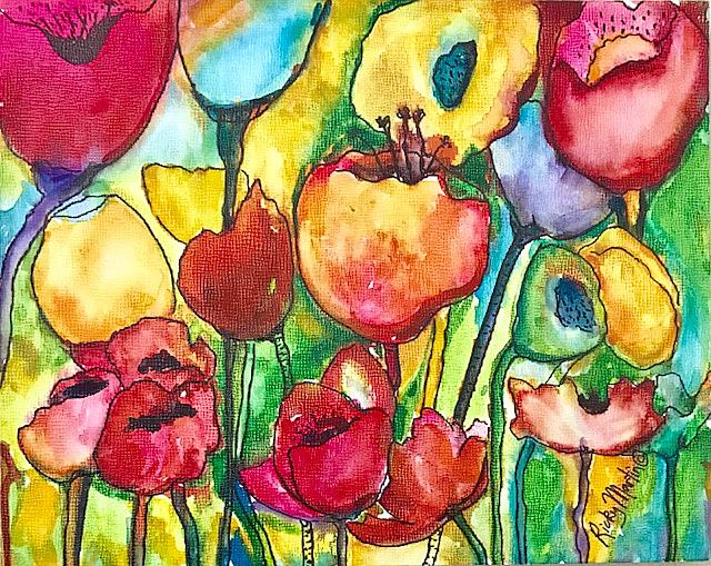 Art: Abstract Flowers - sold by Artist Ulrike 'Ricky' Martin
