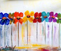 Art: Rainbow Flowers by Artist LUIZA VIZOLI