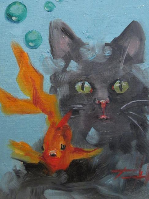 Art: Cat and Goldfish by Artist Delilah Smith