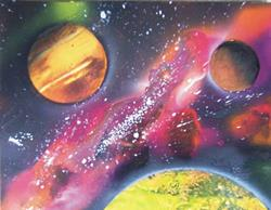 Art: Planets and Galaxy Painting by Leonard G. Collins by Artist Leonard G. Collins