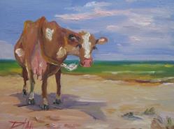 Art: Beach Cow by Artist Delilah Smith