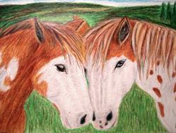 Art: Two Horses in Love by Artist Pamela Godwin Manning