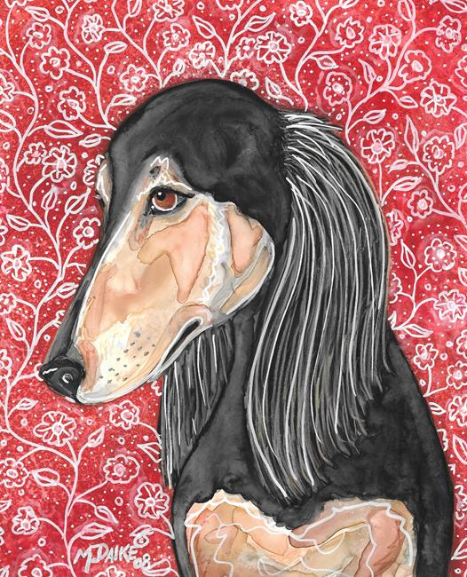 Art: Saluki with Flowers by Artist Melinda Dalke