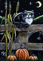 Art: A Cat's Autumn Evening by Artist Monique Morin Matson