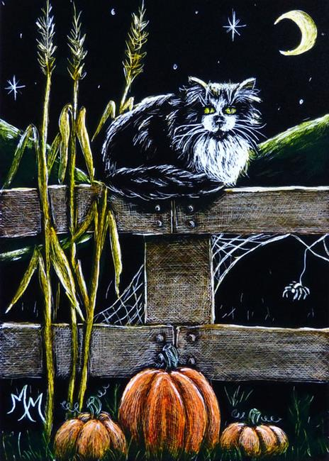 Art: A Cat's Autumn Evening  (SOLD) by Artist Monique Morin Matson