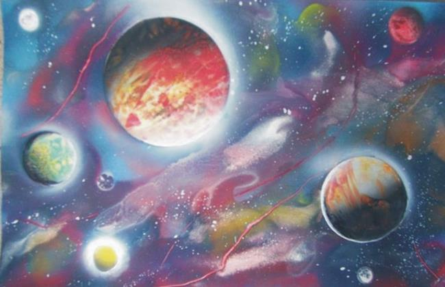 Art: Stars, planets, galaxy painting by Leonard G. Collins by Artist Leonard G. Collins