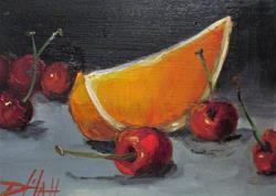 Art: Orange Slice and Cherries by Artist Delilah Smith