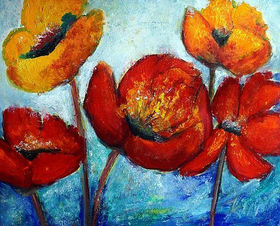 Art: Poppies Serenade by Artist LUIZA VIZOLI