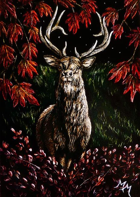 Art: Autumn Wapiti  (SOLD) by Artist Monique Morin Matson