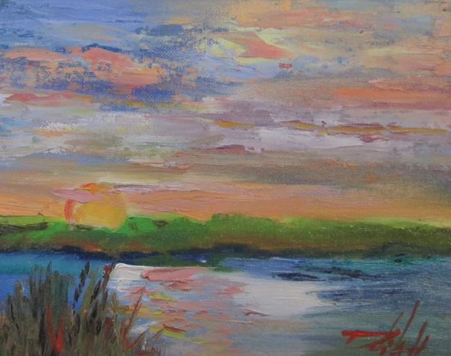 Art: Pink Sunset on the Marsh by Artist Delilah Smith