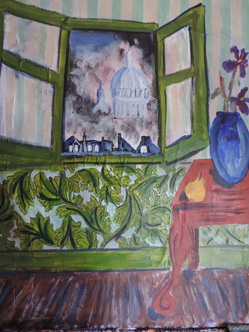 Art: painting of window 001 by Artist Nancy Denommee