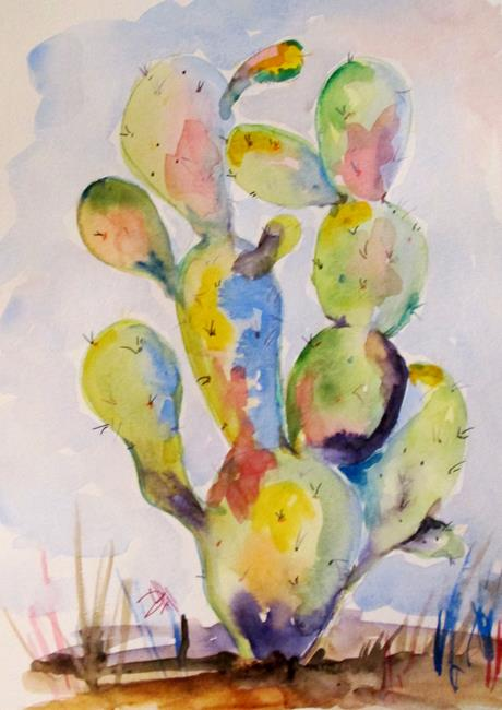Art: Colorful Cactus by Artist Delilah Smith