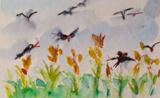 Art: Crows in the Corn aceo by Artist Delilah Smith