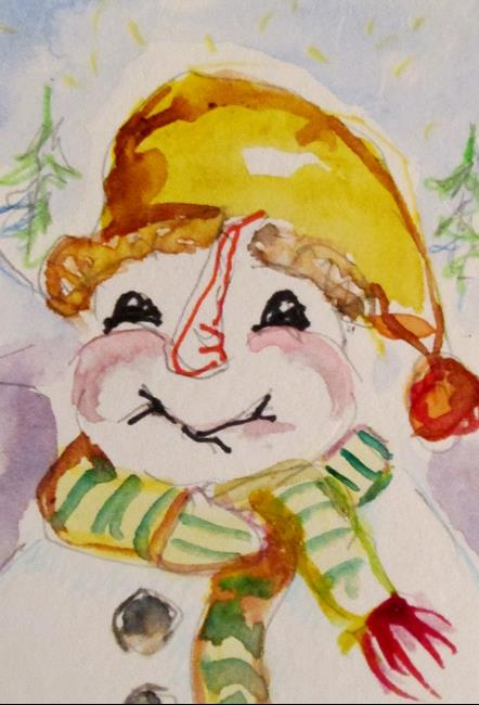Art: Happy Snowman by Artist Delilah Smith