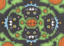 Art: BLACK CAT JAMBOREE Felines by Artist Susan Brack