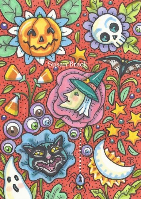 Art: HALLOWEEN IN BLOOM by Artist Susan Brack
