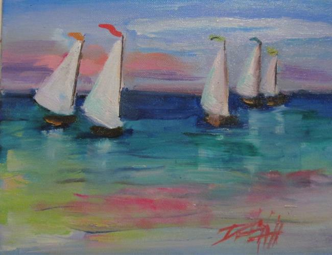 Art: Sailboats on the Lake by Artist Delilah Smith