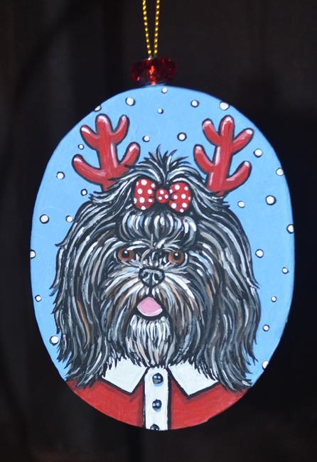 Art: Shih Tzu Reindeer by Artist Melinda Dalke
