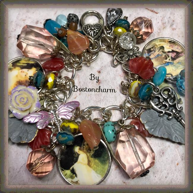 Art: Fairy garden altered art charm bracelet by Artist Lisa  Wiktorek