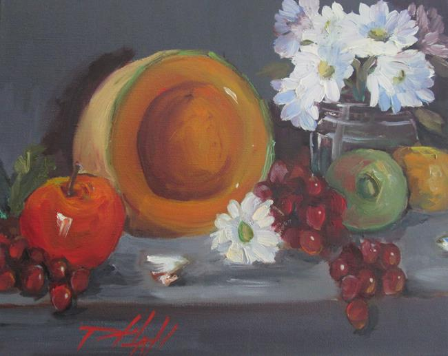 Art: Melon Still Life with Flowers by Artist Delilah Smith