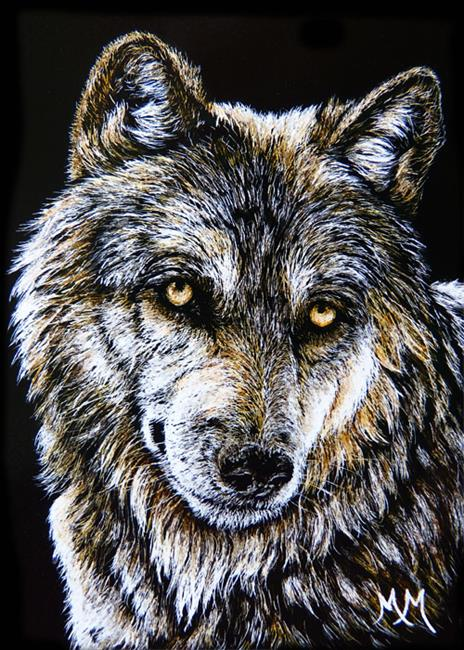 Art: Lone Wolf  (SOLD) by Artist Monique Morin Matson