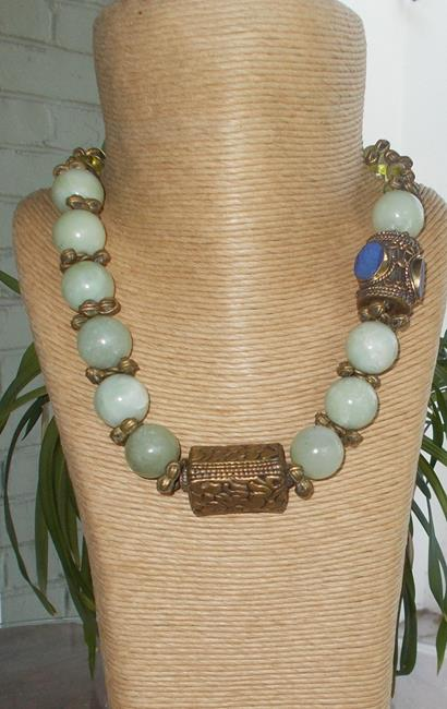 Art: Amazonite & Tibetan Antiques Necklace by Artist ElaineSonneWearableArt