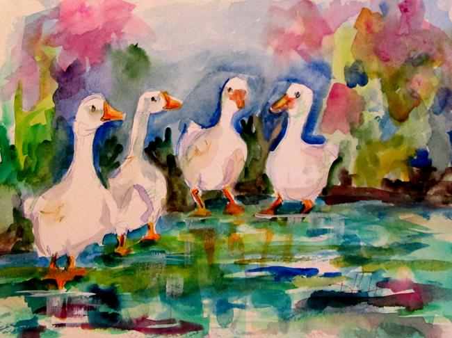 Art: White Geese by Artist Delilah Smith