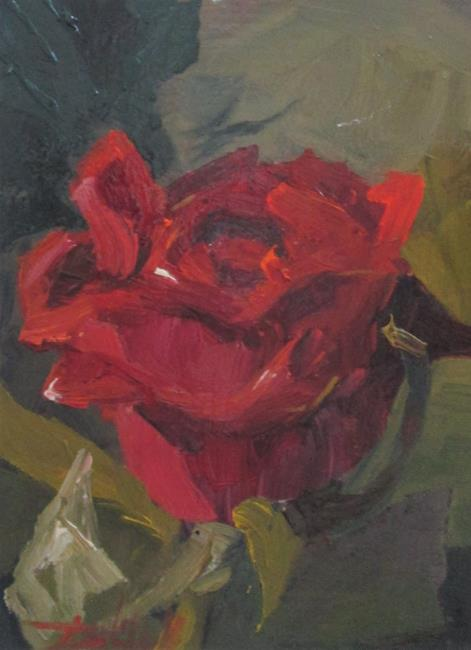 Art: A Red Rose No. 2 by Artist Delilah Smith