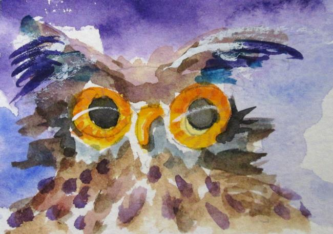 Art: Big Eyed Owl No.3 by Artist Delilah Smith