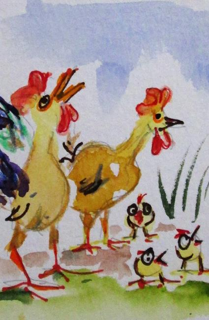 Art: Chicken Family Aceo by Artist Delilah Smith