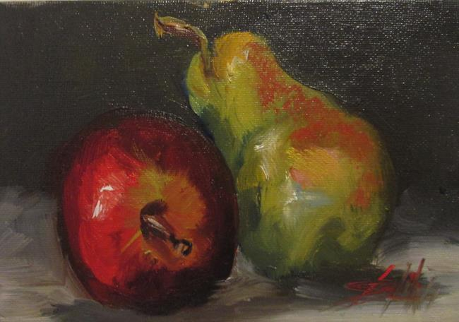 Art: Pear and Apple Still Life by Artist Delilah Smith