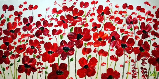 Art: RED FLOWERS by Artist LUIZA VIZOLI