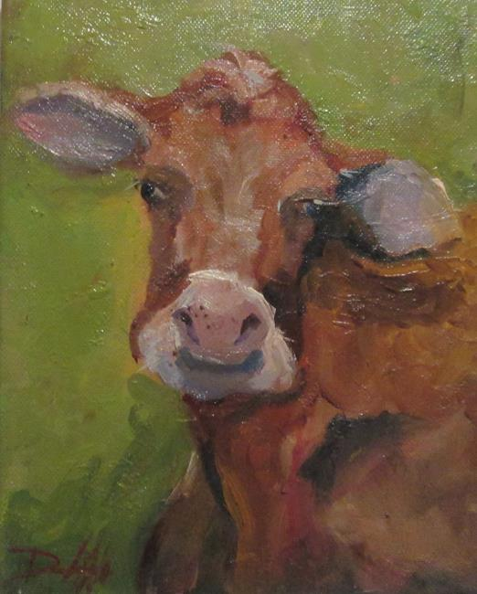 Art: Cow on Green=sold by Artist Delilah Smith