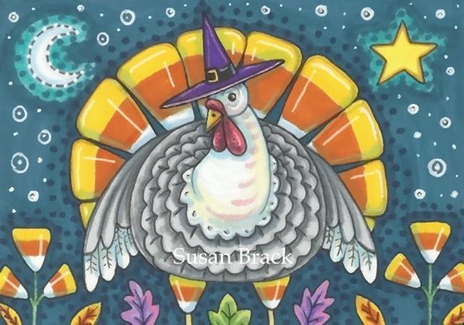 Art: CANDY CORN TURKEY by Artist Susan Brack